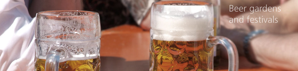 Beer gardens and festivals - Gets beer tankards and glasses hygienically clean